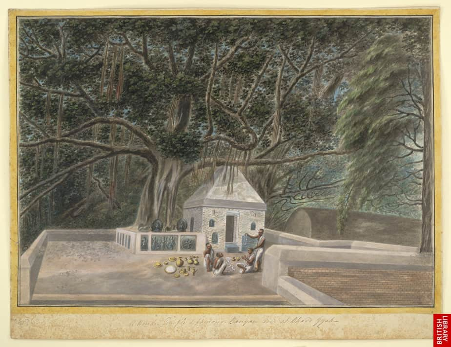 Templo_junto_al_árbol_de_Bodhi,_dibujo_de_1810