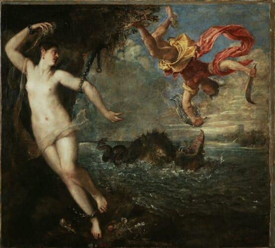 Perseo-y-Andrómeda-por-Tiziano-frente-al-monstruo-Ceto